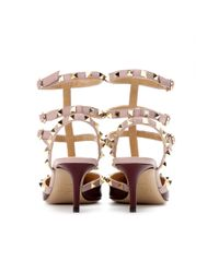 Valentino Natural Rockstud Leather Kitten heel Pumps