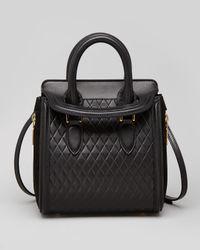 Alexander McQueen Black Heroine Mini Quilted Satchel Bag