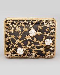 Alexander McQueen Metallic Floral Rectangle Box Clutch Blackgold