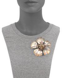 Alexis Bittar   Orange Lucite Pyrite Flower Pin   Lyst