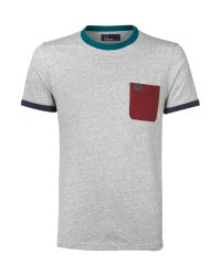 Fred Perry Gray Contrast Pocket Tshirt for men