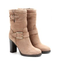 Jimmy Choo Natural Dart Suede Boots with Shearling