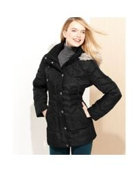 London Fog Black Hooded Faux Fur Trim Quilted Puffer