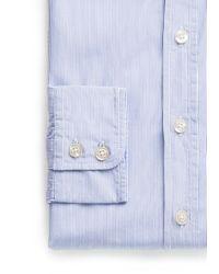 Mango Blue Slimfit Finestripe Shirt for men