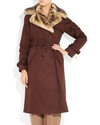 Marc By Marc Jacobs Brown Faux Furtrimmed Cotton Trench Coat
