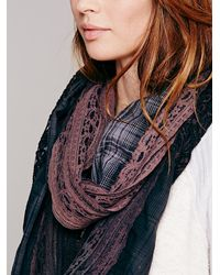 Free People Red Pieced Lace Scarf