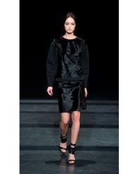 Tibi Black Pony Hair Leather Skirt