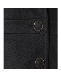 Tory Burch Black Cassie Shearling trimmed Wool Coat