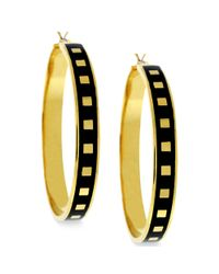 Vince Camuto | Metallic Gold Tone Square and Black Enamel Hoop Earrings | Lyst