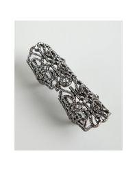 BCBGMAXAZRIA - Gray Gunmetal Filigree and Crystal Hinged Armor Ring - Lyst