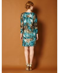 Biba Blue Metallic Blurred Animal Jersey Dress
