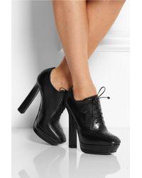 Bottega Veneta Black Brogue-Style Leather Ankle Boots