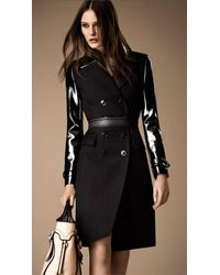 Burberry Black Patent Sleeve Wool Mohair Military Coat