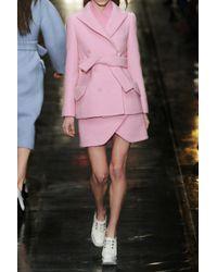 Carven Pink Doublebreasted Brushed Woolblend Coat