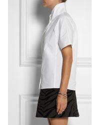 Carven White Crossover Collar Cottonpoplin Shirt