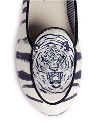 Charles Philip White Olympia Tiger Print Slip-ons