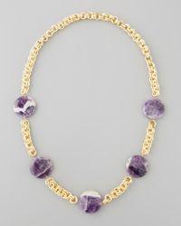 Devon Leigh - Metallic Amethyst Coin Necklace Purple - Lyst