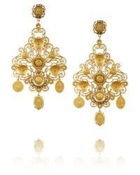 Dolce & Gabbana | Metallic Filigrana Gold Plated Chandelier Clip Earrings | Lyst