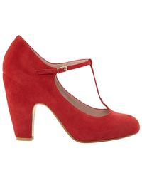 Dune Red Antina Suede Tbar Court Shoes