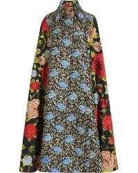 Duro Olowu Blue Embroidered Silk Cape