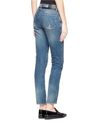 Each x Other Blue Leather Trim Distressed Skinny Jeans