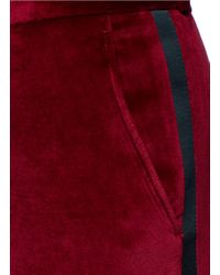 Each x Other Red Contrast-trim Velvet Pants