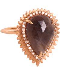 Eva Fehren - Pink Champagne Diamond Grey Sapphire Rose Gold Auto Ring - Lyst