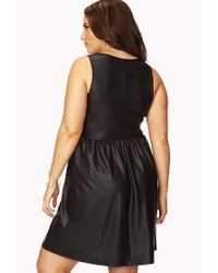 Forever 21 Black Plus Size Daring Faux Leather Dress