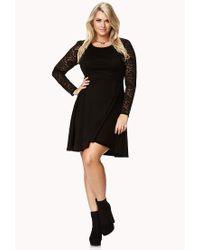 Forever 21 Fancy Lace Sleeve Skater Dress in Black | Lyst