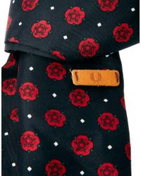 Fred Perry Red Rose Print Scarf for men