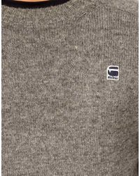 G-Star RAW Gray G Star Crew Jumper Vostok Melange Oxford Knit for men