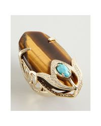 Kendra Scott | Metallic Tigers Eye Dani Feather Cocktail Ring | Lyst