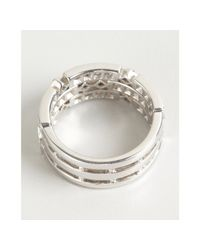 Kwiat - White Gold and Diamond Carre Three Layer Ring - Lyst