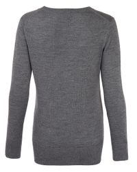 Markus Lupfer Gray Grey Lips Polka Dot Sequined Merino Wool Jumper