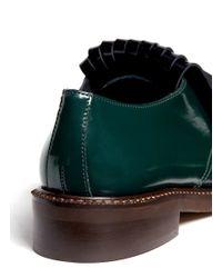 Marni Green Tassel Detail Patent-leather Lace-ups
