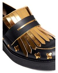Marni Metallic Cut-out Leather Loafers