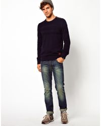ASOS - Blue Minimum Sweater with Button Shoulder for Men - Lyst