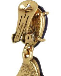Oscar de la Renta - Blue Goldplated Cabochon Clip Earrings - Lyst
