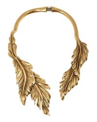 Oscar de la Renta | Metallic Goldplated Leaf Necklace | Lyst