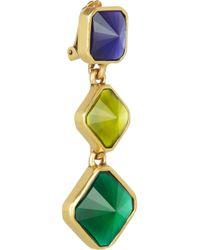 Oscar de la Renta - Green Gold Plated Resin Clip Earrings - Lyst