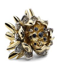 Roberto Cavalli | Metallic Flower Ring with Swarovski Crystals | Lyst