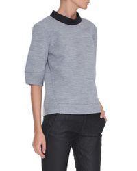 Tibi Blue Bonded Milano Sweatshirt