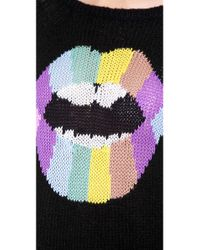Wildfox Black Psychedelic Lips Sweater
