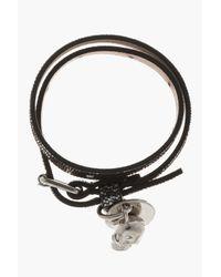Alexander McQueen Gray Gunmetal Leather Double Wrap Skull City Bracelet