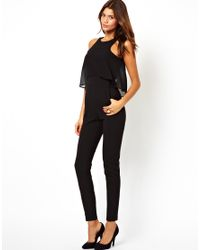 ASOS Black Jumpsuit with Chiffon Top Layer