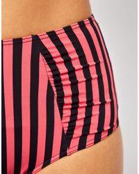 ASOS Multicolor Stripe High Waisted Bikini Pant