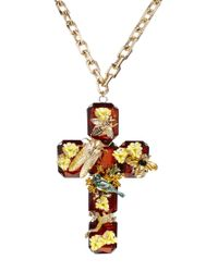 ASOS - Brown Natures Cross Necklace - Lyst