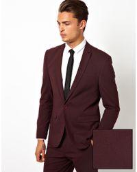 ASOS Purple Skinny Suit Jacket In Burgundy for men