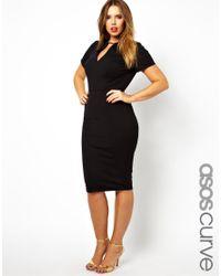 ASOS Black Exclusive Workwear Dress with Metal Bar