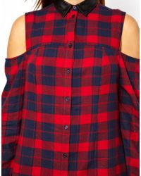 ASOS Red Exclusive Shirt Dress in Tartan Check with Cold Shoulder